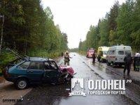 Лобовое столкновение на 13-м километре автодороги Сегежа — Надвоицы.